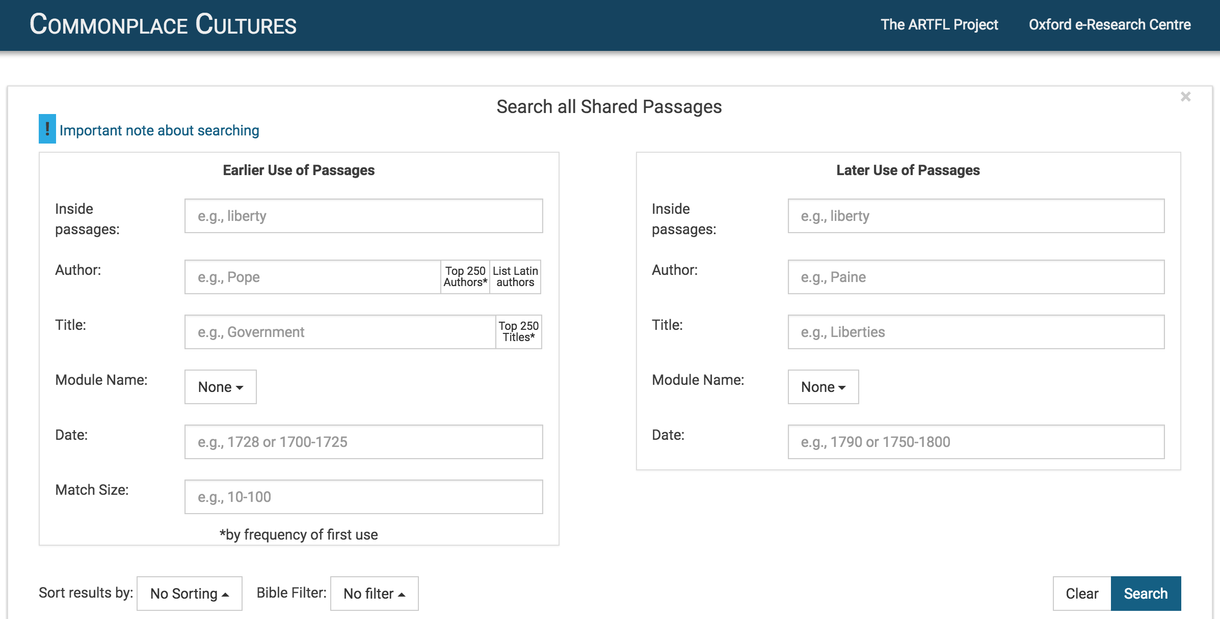 Search Commonplace Cultures Database – Commonplace Cultures